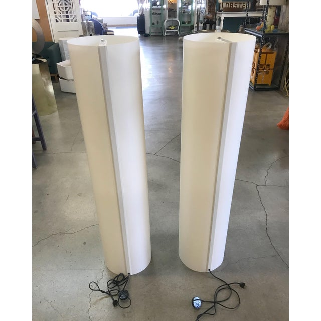 Modern White Column Modern Floor Lamps Style of Paul Mayen For Sale - Image 3 of 5