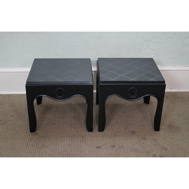Mid-Century Ebonized Black Slate Top Side Tables - A Pair For Sale - Image 4 of 10