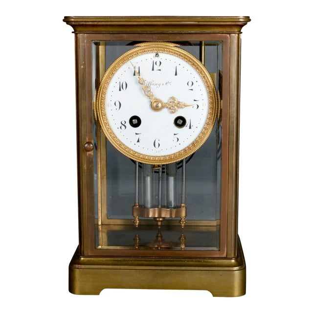 Antique Tiffany & Co. Crystal and Brass Regulator Mantel Clock, circa 1890 For Sale