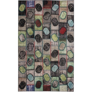 "Hand Knotted Patchwork Rug by Aara Rugs Inc. 9'9"" X 6'2"" For Sale"