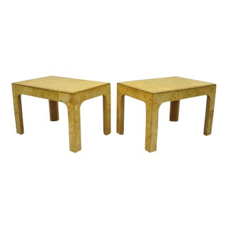 Vintage Mid-Century Henredon Burled Olive Wood Side Tables - A Pair For Sale