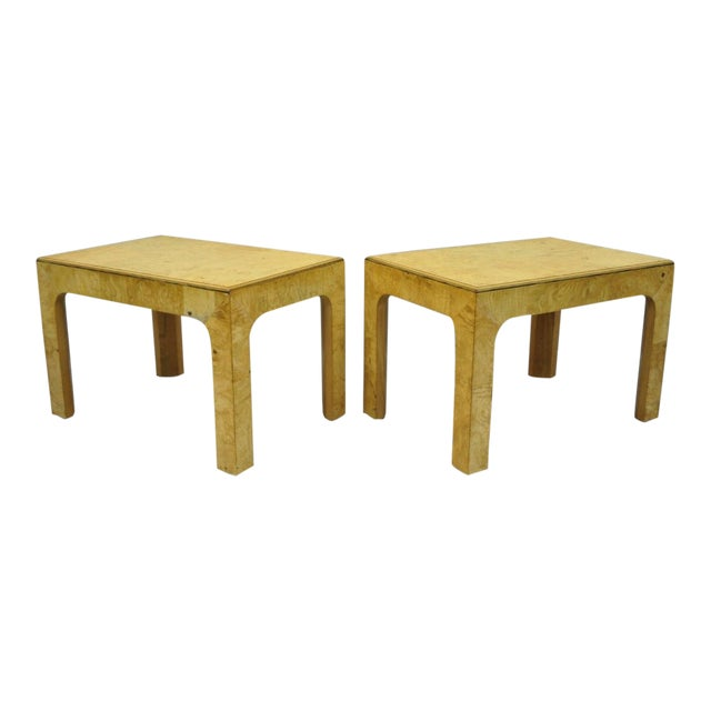 Vintage Mid Century Henredon Burled Olive Wood Side Tables A