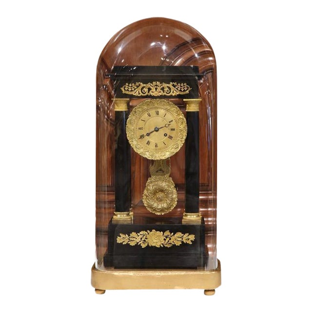 19th Century French 4-Columns Empire Mantel Clock with Original Glass Dome For Sale