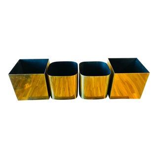 1970s Vintage Paul Mayen Habitat Brass Mid-Century Modern Aluminum Metal Planters - Set of 4 For Sale