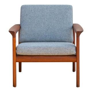 Mid-Century Danish Modern Solid Teak Lounge Chair For Sale