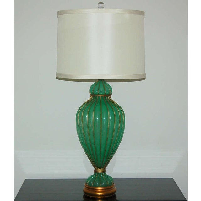 Hollywood Regency Marbro Murano Opaline Glass Table Lamps Green For Sale - Image 3 of 9