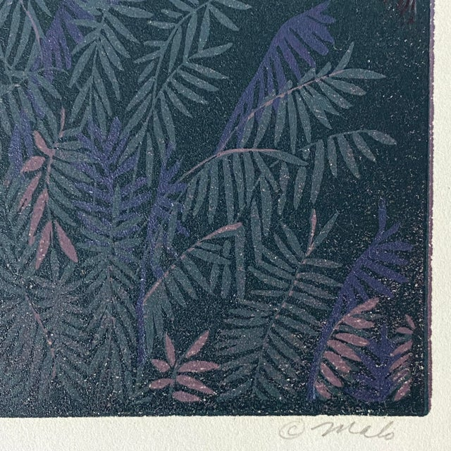 """Modern 1985 """"Through a Dark Time"""" Linocut Numbered 23/30 by Teri Malo For Sale - Image 3 of 4"""