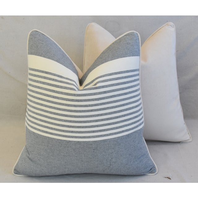 """French Gray & White Nautical Striped Feather/Down Pillows 22"""" Square - Pair For Sale - Image 10 of 12"""