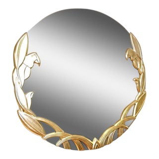 Round Modern Parrot Motif Silver Gilt Wood Wall Mirror For Sale