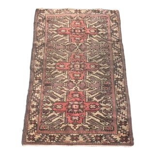 "Hand Made Vintage Turkish Area Rug- 3'4"" X 5'7"" For Sale"