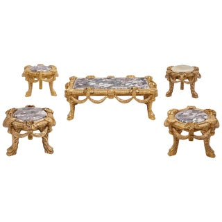 Set of Five Italian Carved Giltwood Low Tables For Sale