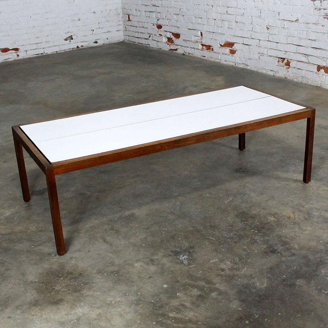 Lewis Butler for Knoll Walnut & White Laminate Coffee Table For Sale - Image 6 of 11