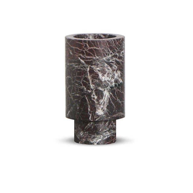 Stone Modern Coffee Table With Accessories in Red and Black Marble, by Karen Chekerdjian - Set of 4 For Sale - Image 7 of 13