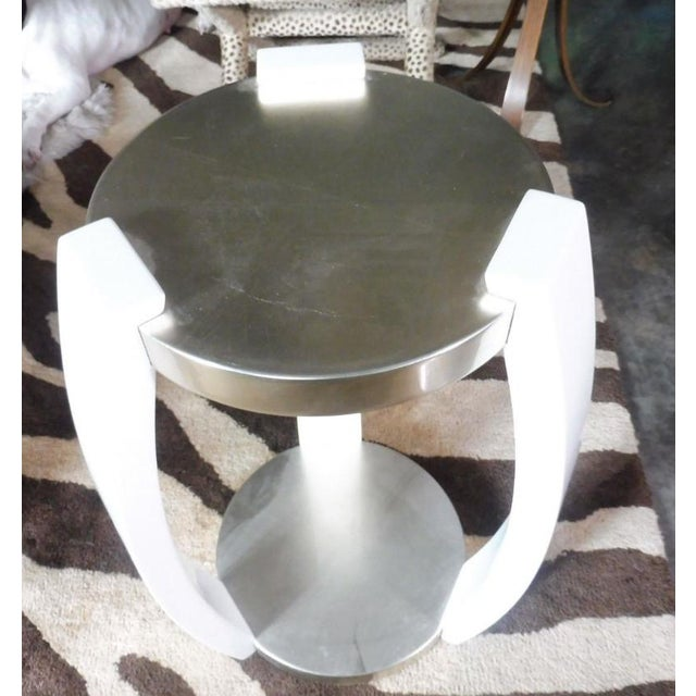 This is a vintage J. Robert Scott silver leaf and white lacquer Harlow table. The piece was designed by Sally Sirkin Lewis...