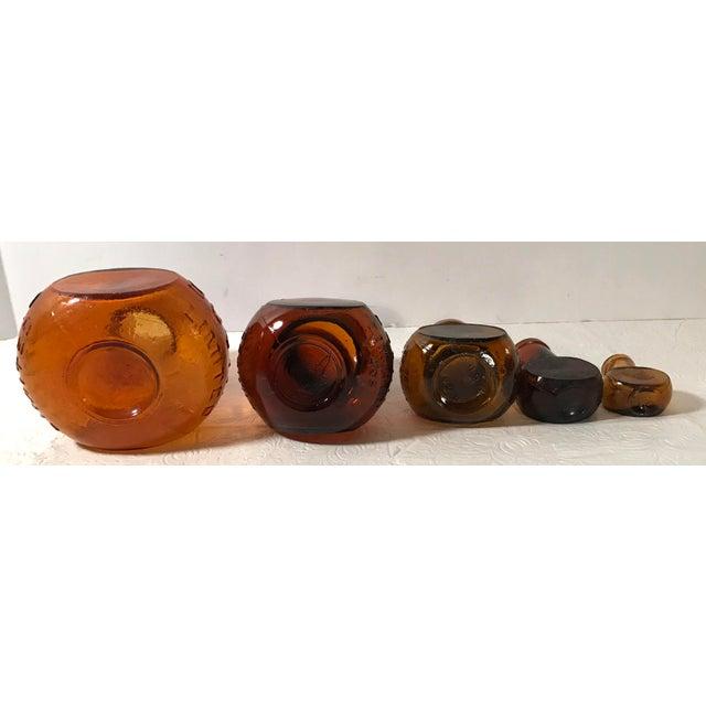 Glass Antique Brown Bovril Bottles - Set of 5 For Sale - Image 7 of 9