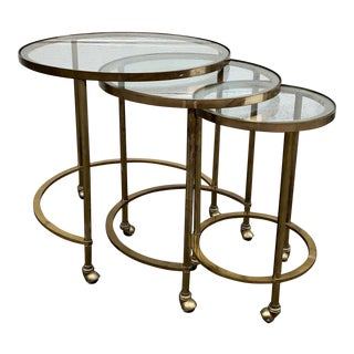 Brass & Glass Nesting Tables, 3 For Sale