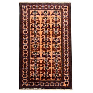 Salmon Red and Multicolor Tribal Hand Knotted Rug- 3′10″ × 6′7″ For Sale