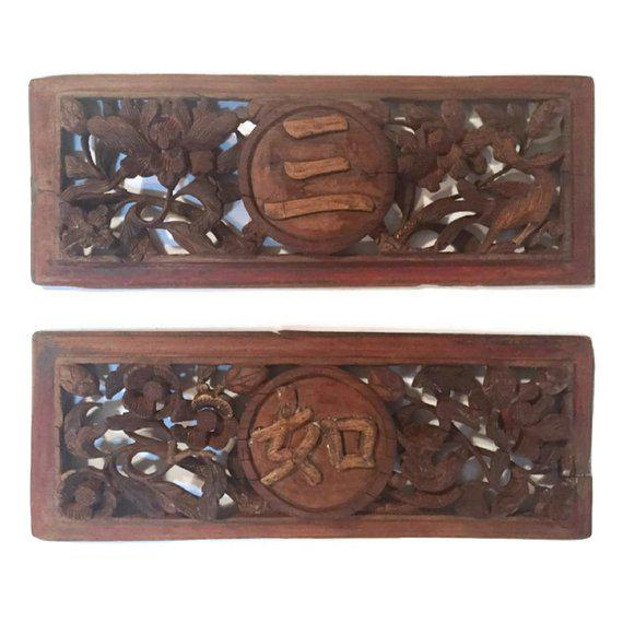 Asian 1940s Antique Chinese Wood Carved Panels - A Pair For Sale - Image 3 of 13