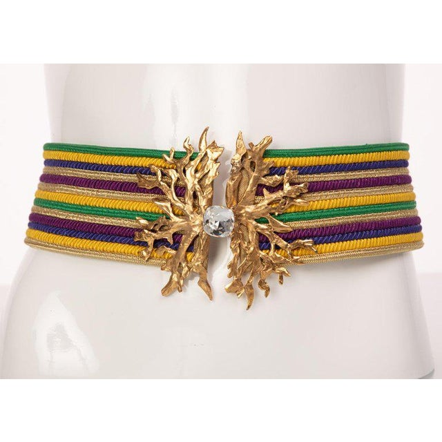1970s 1980s Yves Saint Laurent Vintage Ysl Multicolored Passementerie Gold Belt For Sale - Image 5 of 6