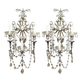 Neoclassical Crystal Wall Sconces - A Pair