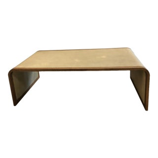 Shagreen Coffee Table With Wood Trim For Sale
