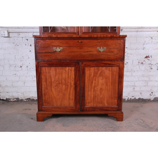 English George III Style Mahogany and Cherry Drop Front Secretary Desk With Bookcase, Circa 1870 For Sale - Image 4 of 13