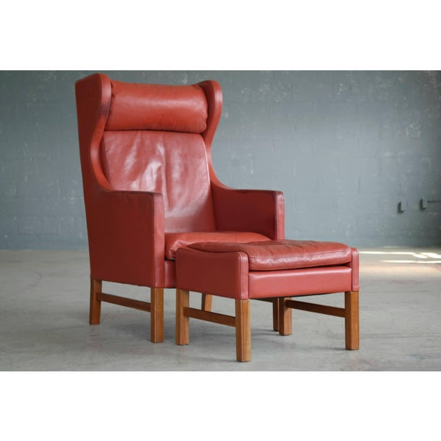 Svend Skipper Danish Wingback Armchair and Ottoman Model Admiral in Red Leather For Sale - Image 10 of 10