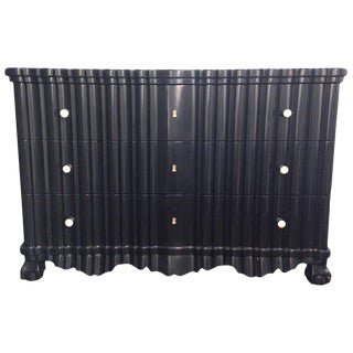 Portuguese Rococo Ebonized Three-Drawer Commode For Sale