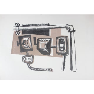 Mid Century Modernist Salmon and Black Lithograph For Sale