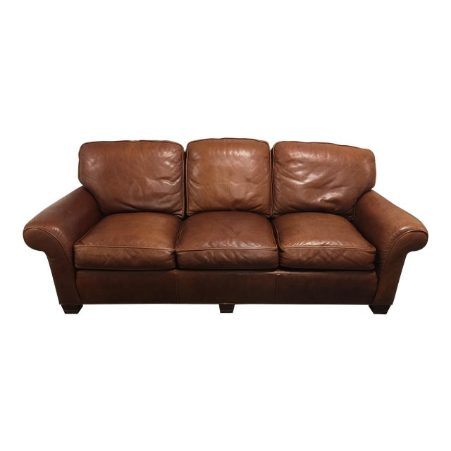Whittemore Sherrill Ltd Distressed Leather Sofa Chairish