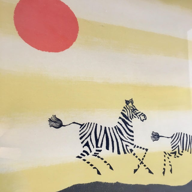 Mid-Century Modern Framed Zebra Lithograph by Keith DeCarlo For Sale - Image 3 of 7
