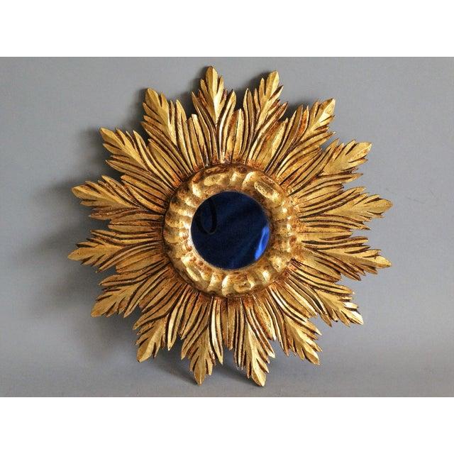 French Carved Gilt Wood Sunburst Mirror For Sale - Image 9 of 9