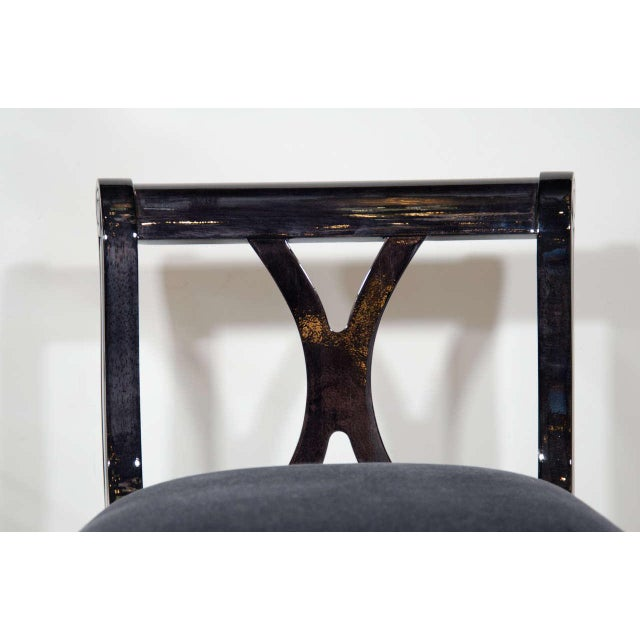Art Deco Stool With Low Back in Ebonized Walnut and Mohair For Sale - Image 4 of 9