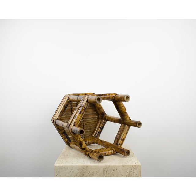Tortoise Bamboo Plant Stand Table For Sale In New York - Image 6 of 8