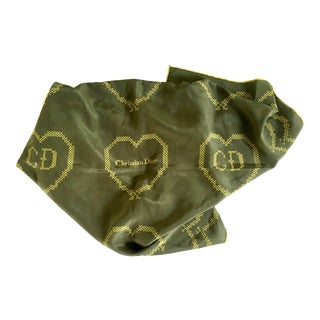 "20th Century French Silk Christian Dior ""Heart"" Logo Scarf For Sale"