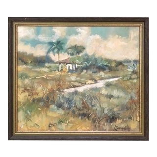 Vintage Tropical Landscape Palm Trees Hut Beach Art Oil Painting Signed, Framed For Sale