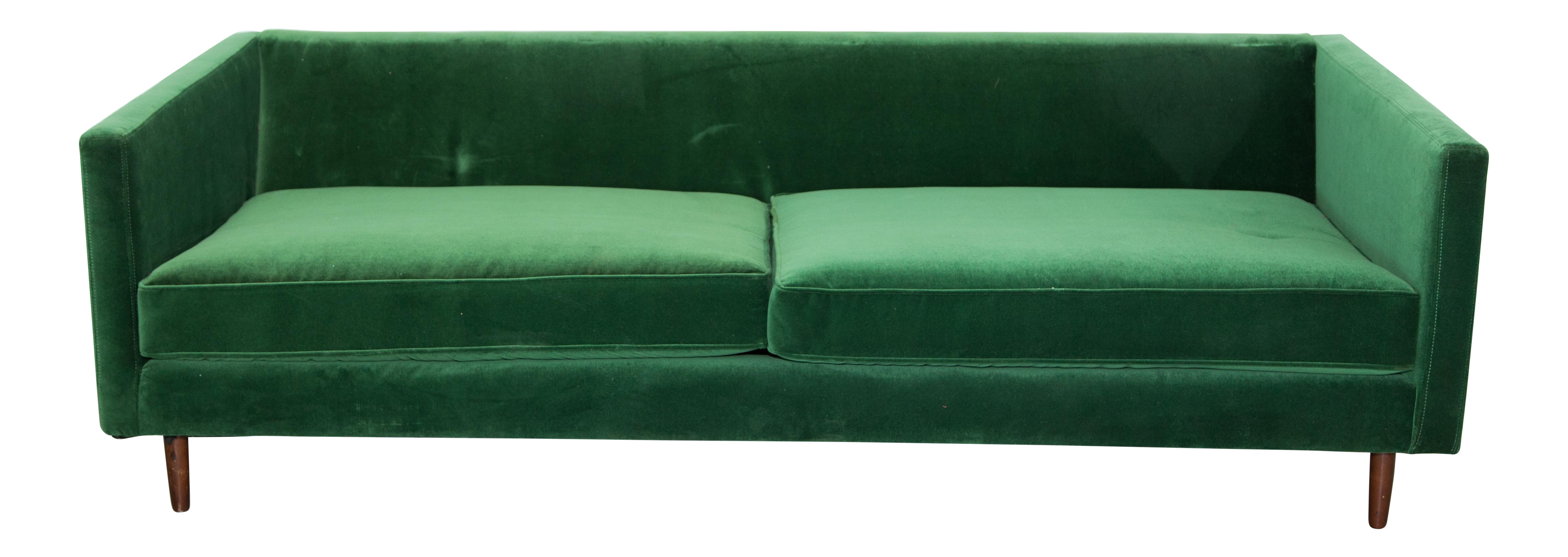 Mid Century Emerald Green Velvet Sofa