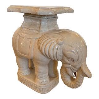 Terracotta Glazed Elephant End Side Table For Sale