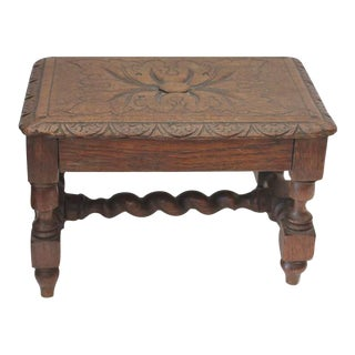 Hand Carved 19Th Century English Foot Stool For Sale