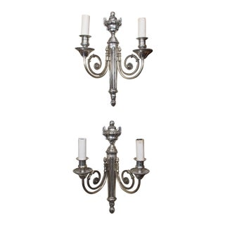 Pair of French Silvered Metal Sconces For Sale