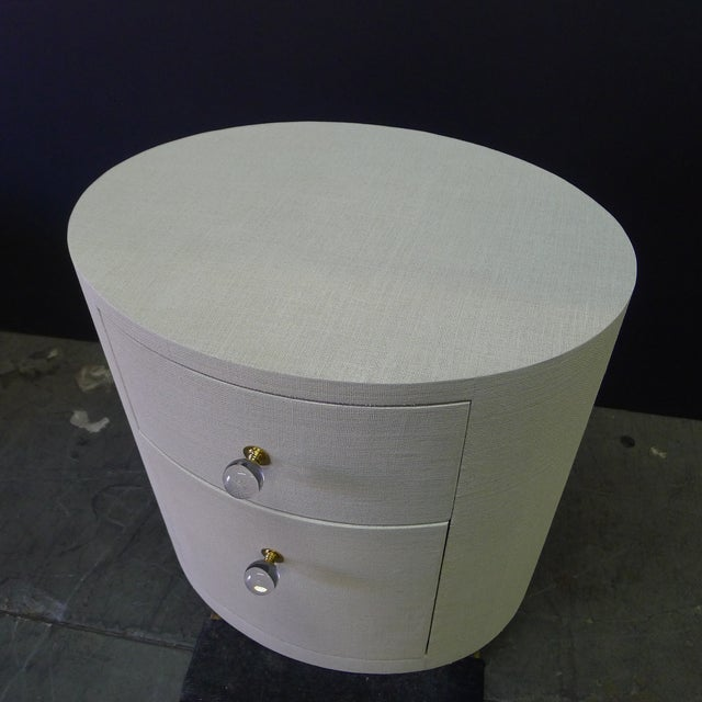 White Paul Marra Linen-Wrapped Round Nightstand For Sale - Image 8 of 10