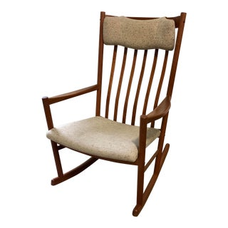 Mid Century Danish Modern Hans Wegner for Tarm Stole Teak Rocking Chair For Sale