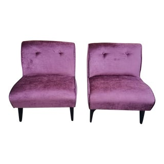 Mid Century Modern Armless Slipper Lounge Chairs Newly Upholstered - Pair For Sale