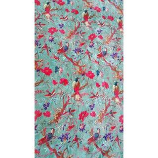 Vibrant Turquoise Velvet Bird Fabric