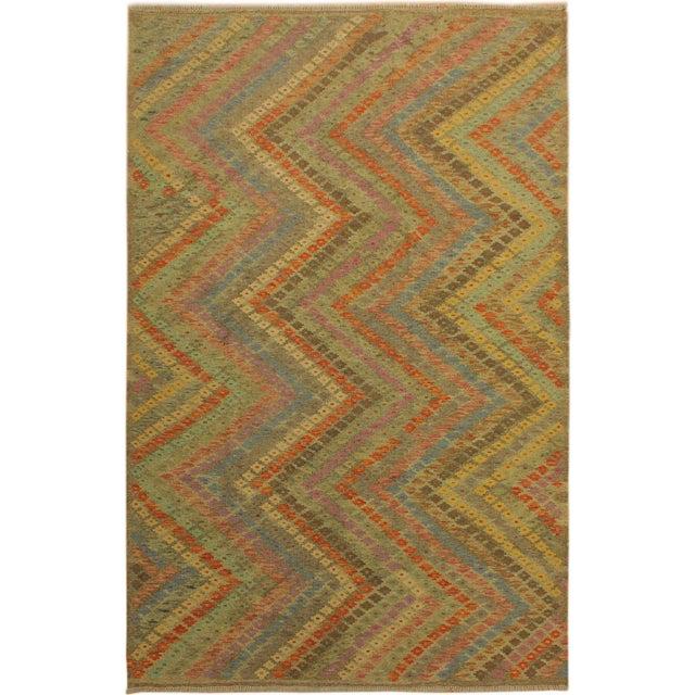 Tan Contemporary Tribal Edgardo Gray/Blue Hand-Woven Kilim Wool Rug -6'9 X 9'7 For Sale - Image 8 of 8