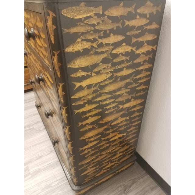 Antique English Fish Decoupage Chest of Drawers For Sale - Image 9 of 13