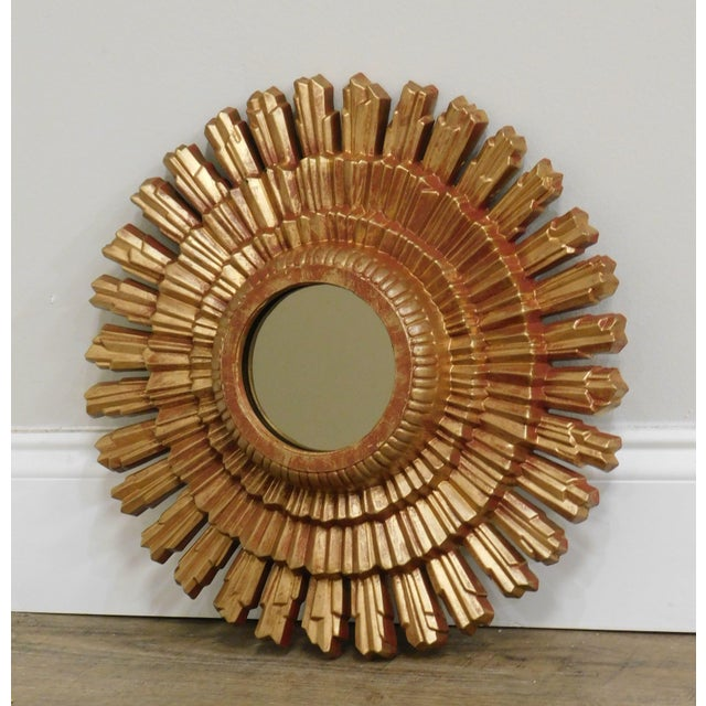 Hollywood Regency Small Gold Gilt Sunburst Mirror For Sale - Image 3 of 13
