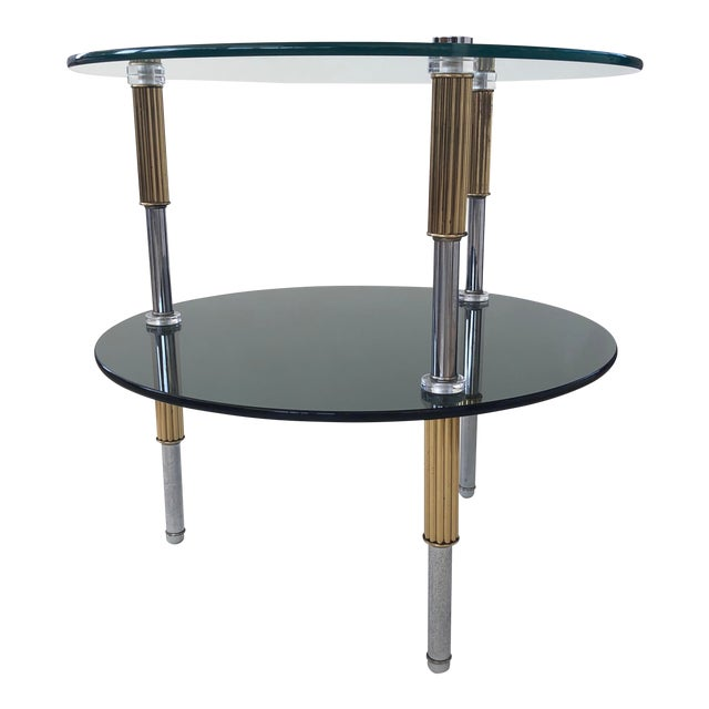 Mid Century 2-Tiered Glass, Brass, and Stainless Steel Side Table For Sale