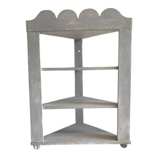 Shabby Chic Corner Shelf With Scalloped Edge For Sale