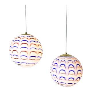 1960s Murano Red, White & Blue Globe Pendant Lights